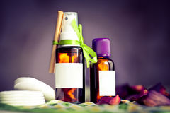 Aroma oils. Essential oils make-up removal kit for women Stock Photos