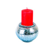 Aroma  red  candle in  silver  glass candlestick Stock Photos