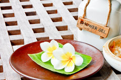Aroma salt and flowers Stock Photography