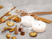 Aroma Set with Smoking Sticks and Pyramides Royalty Free Stock Photos
