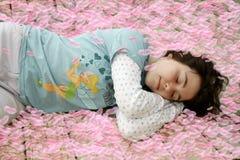 Aroma sleep. Girl asleep in pink rose pedals Stock Photos