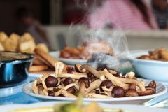 Aroma smell ,Fried Japanese mushroom,home made in oyster sauce,on selective focus. Stock Images