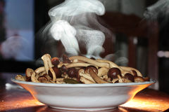 Aroma smell ,Fried Japanese mushroom,home made in oyster sauce,on selective focus. Royalty Free Stock Photo