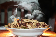 Aroma smell ,Fried Japanese mushroom,home made in oyster sauce,on selective focus. Royalty Free Stock Photos
