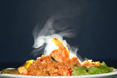 Aroma smell of fried rice with shrimp. selective focus. Royalty Free Stock Photography