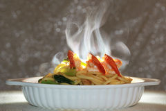 Aroma smell of Spicy fried Chinese noodle with shrimp on selective focus . Stock Photos