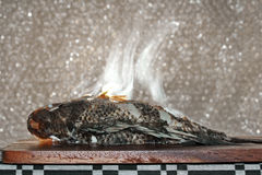 Aroma smell of streamed tilapia fish on butcher served for cooking . Selective focus . Stock Images
