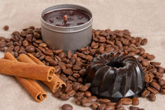 Aroma soap, candle with cinnamon sticks and coffee Royalty Free Stock Photography