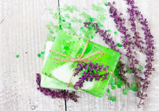 Aroma spa θέστε με τα λουλούδια της φασκομηλιάς Στοκ Εικόνες
