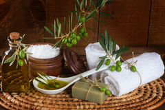 Aroma spa with green olives Stock Images
