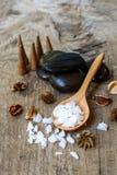 Aroma spa set on wooden table Stock Photo