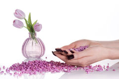 Aroma spa treatment with tulips Royalty Free Stock Photography