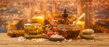 Aroma spa. Treatments on wooden royalty free stock images