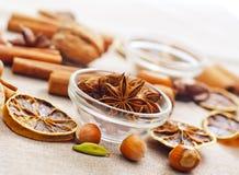 Aroma spice. Anis, lemon and cinnamon Stock Photo