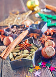 Aroma spice. For christmas baking on a table Royalty Free Stock Photo