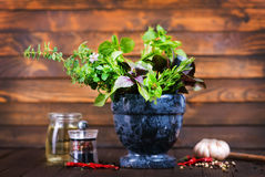 Aroma spice. And herbal on the wooden table Stock Photography