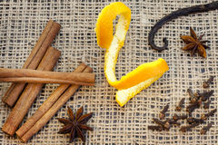 Aroma spices cinnamon anise vanilla and cloves Stock Photography