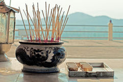 Aroma sticks in buddhist temple Royalty Free Stock Photography