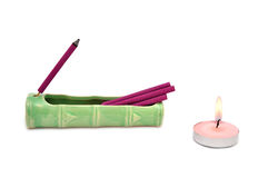 Aroma sticks and candle Stock Images