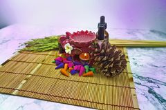 Aroma stove and multi color of perfume stock images