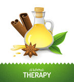 Aroma teraphy icon. With oil, cinnamon and anise star Royalty Free Stock Images