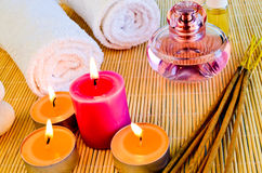 Aroma Therapy. Spa Aroma therapy setting made of essential oils candles and incense sticks Stock Image