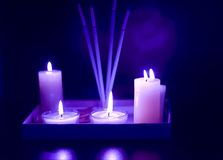 Aroma therapy incense. Candles and incense sticks used in aromatherapy stock photo