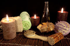 Aroma Therapy Series 16. Essential Oil Bottles, towels, candle and flower for healthy spa treatment Royalty Free Stock Image
