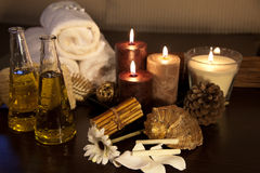 Aroma Therapy Series. Essential Oil Bottles, towels, candle and flower for healthy spa treatment Stock Images