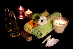 Aroma Therapy Series 7. Essential Oil Bottles, towels, candle and flower for healthy spa treatment Stock Photo