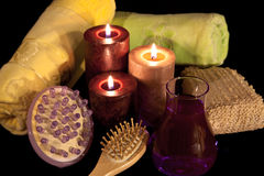 Aroma Therapy Series 8. Essential Oil Bottles, towels, candle and flower for healthy spa treatment Stock Photos