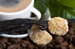Aromakaffee mit Vanille- und Kaffeezweig stockbild