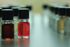 Aromas,. Colourful small bottles with different aromas for sommelier training Royalty Free Stock Photos