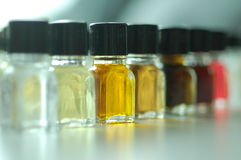 Aromas,. Colourful small bottles with different aromas for sommelier training Royalty Free Stock Image