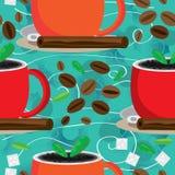 Aromat Wokoło Kawowego Bezszwowego Pattern_eps royalty ilustracja