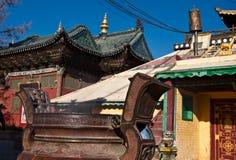 Aromata garnek przy Gandantegchinlen monasterem w Ulaanbaatar zdjęcia stock