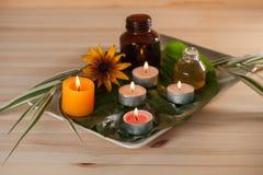 Aromaterapia con le erbe e l'olio fotografia stock