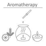 Aromaterapia Profumi del pino e dell'agrume Il manifesto o un'insegna per l'aromaterapia Fotografia Stock Libera da Diritti