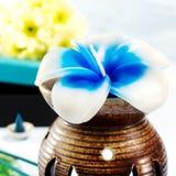 Aromathérapie réglée avec la bougie et l'encens de fleur Images stock