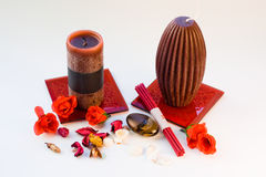 Aromatheraphy items. Items for aromatherapy: candles, incense sticks, fragrance stock photo