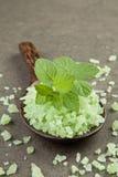 Aromatherapiesalzbadekurort Pfefferminz auf grünem Salzbadekurort in hölzernem SP Stockbild