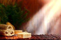 aromatherapy棒浴关心马赛自然肥皂 免版税库存图片