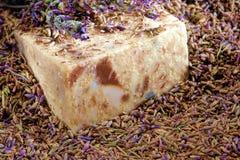 aromatherapy淡紫色自然种子肥皂 库存图片