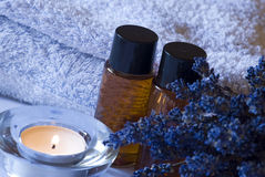 aromatherapy淡紫色集合温泉 免版税库存图片