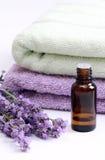 aromatherapy熏衣草油 免版税库存图片