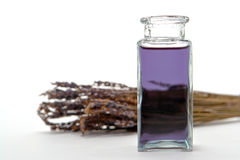 aromatherapy瓶重要熏衣草油 库存照片