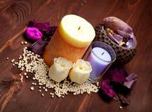 aromatherapy άλας κεριών λουτρών Στοκ φωτογραφία με δικαίωμα ελεύθερης χρήσης