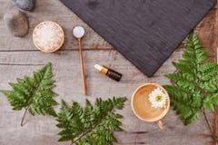 Aromatherapy: αλατισμένη, καλλυντική κρέμα λουτρών, οργανικό σαπούνι και πράσινος Στοκ Φωτογραφία