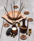 Aromatherapy και skincare εξαρτήματα Στοκ φωτογραφία με δικαίωμα ελεύθερης χρήσης