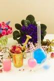 Aromatherapy - ξηρές λουλούδια και φίλτρα Στοκ Εικόνες